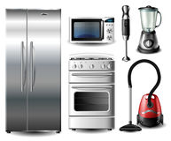 Kitchen appliance set. With refrigerator, stove, blender, vacuum cleaner, an microwave oven Royalty Free Stock Images