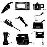 Kitchen appliances. Kitchen electrical appliances black and white silhouettes Stock Photo