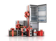 Kitchen appliances. Blender, toaster, coffee machine, kettle and microwave in gift ribbon. 3d illustration Stock Photo