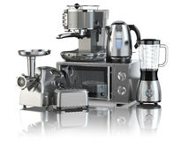 Free Kitchen Appliances. Blender, Toaster, Coffee Machine, Meat Ginde Stock Image - 66620461