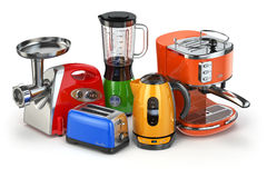 Kitchen appliances. Blender, toaster, coffee machine, meat ginde Royalty Free Stock Photos