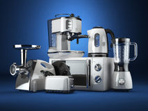 Kitchen appliances. Blender, toaster, coffee machine, meat ginder, microwave oven and kettle. royalty free illustration