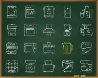 Kitchen Appliance chalk draw line icons vector set vector illustration