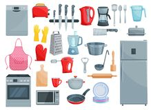 Kitchen appliances and dishware vector icons set. Kitchen utensil, kitchenware and home appliances icons. Vector set of refrigerator, dishwasher or microwave vector illustration