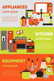 Kitchen appliances and equipment flat banner,  set with  isolated illustration, for sales and advertising