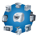 Kitchen appliances icon set Royalty Free Stock Image