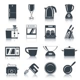 Kitchen Appliances Icons Black. Set with coffee machine oven dishwasher knifes isolated vector illustration vector illustration