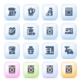Kitchen appliances icons on color buttons. Royalty Free Stock Photos