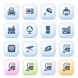 Kitchen appliances icons on color buttons. Stock Image