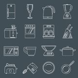 Kitchen appliances icons outline Royalty Free Stock Images
