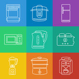 Kitchen appliances icons. Vector linear icons collection of Kitchen appliances royalty free illustration