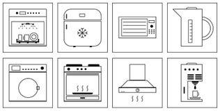 Kitchen appliances icons Royalty Free Stock Photo
