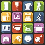 Kitchen appliances icons white Stock Photo