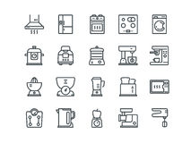 Kitchen Appliances .Includes such as Blender, Oven, Washing and other. Editable Stroke. 48x48 Pixel Perfect. Simple Set of Kitchen Appliances Related Vector Royalty Free Stock Image