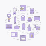 Kitchen appliances line icon set. Royalty Free Stock Images