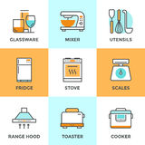 Kitchen appliances line icons set. Line icons set with flat design elements of kitchen utensils, glassware and home appliance, fridge and cooker hood, cooking on Royalty Free Stock Photography