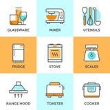 Kitchen appliances line icons set vector illustration