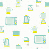 Kitchen appliances pattern. Vector EPS 10 hand drawn kitchen appliances seamless pattern Stock Photo