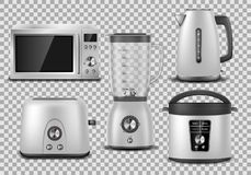 Free Kitchen Appliances. Realistic Microwave, Kettle, Blender, Oven, Juicer, Toaster, Multicooker Silver Mockup. Set Of Royalty Free Stock Photo - 138703595