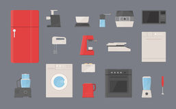 Kitchen appliances set. Fridge, washing machine, kettle, blender, toaster, electric grill, coffee machine, steamer Stock Images