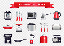 Kitchen Appliances Set. Set of kitchen appliances including slow cooker, microwave, coffee machine, scales on transparent background  vector illustration Stock Photos