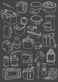 Kitchen appliances set. Kitchen appliances doodle. Royalty Free Stock Photos