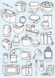 Kitchen appliances set. Kitchen appliances doodle. Stock Images