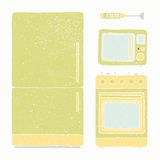 Kitchen appliances set. Vector EPS 10 hand drawn illustration Royalty Free Stock Photography