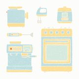 Kitchen appliances set. Vector EPS 10 hand drawn illustration stock illustration