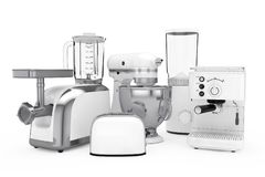 Kitchen Appliances Set. White Blender, Toaster, Coffee Machine, Stock Image
