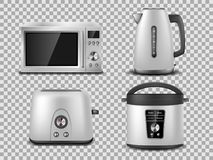 Free Kitchen Appliances Template. Realistic Silver Microwave, Kettle, Oven, Juicer, Toaster, Multicooker Silver Mockup. Set Royalty Free Stock Photo - 141926295
