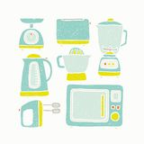Kitchen appliances. Vector EPS 10 hand drawn kitchen appliances Royalty Free Stock Photos