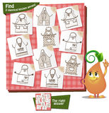 Kitchen aprons Visual Game. Visual Game for children. Task: Find 2 identical kitchen aprons Royalty Free Stock Photo