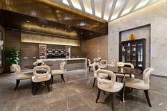 Kitchen area with marble floor. Of a show room Stock Image