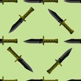Kitchen or army knife seamless pattern steel sharp dagger metal military dangerous metallic sword vector illustration Royalty Free Stock Image