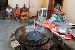 Kitchen in the ashram of Jaipur. JAIPUR, INDIA, October 27, 2017 : Sadhus in an Ashram. A sadhu is a religious ascetic, mendicant or any holy person in Hinduism Stock Image