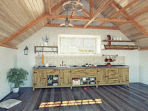 Kitchen  in the attic Royalty Free Stock Photography