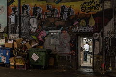 Kitchen backdoor. Melbourne, Australia - April 22, 2015: View through a kitchen backdoor in the alleyways of Melbourne Stock Image