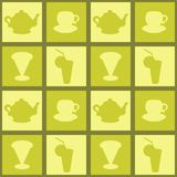 Kitchen background. With teapots and cups Royalty Free Stock Photos