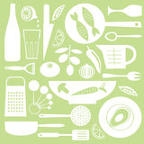 Kitchen background. A kitchen background including utensils, vegetables and fish Royalty Free Stock Images