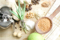 Kitchen background with assorted flavorings Stock Photos