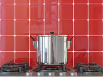 Kitchen background, pot on gas Royalty Free Stock Photo
