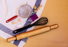 Kitchen baking utensils and kitchen towel Royalty Free Stock Image