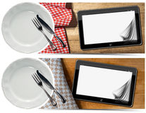 Kitchen Banners with Plate and Tablet Stock Photo