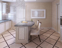 Kitchen with bar in avantgarde style Royalty Free Stock Photo