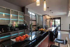 Kitchen with bar counter Stock Image