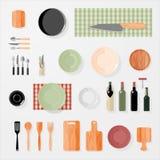 Kitchen, bar, restaurant design elements. Mock-up. Vector Set Stock Photography