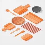 Kitchen, bar, restaurant design elements. Mock-up. Vector Set. 3d Isometric  illustration Stock Images