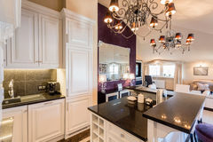 Kitchen in baroque house. Luxury kitchen in baroque house Royalty Free Stock Photography