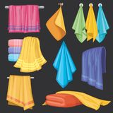 Kitchen and bath hanging and folding towels isolated vector set Stock Images